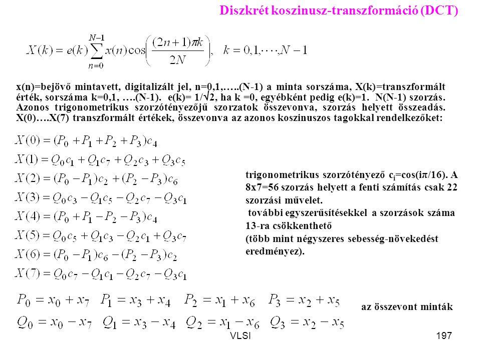 VLSI197 Diszkrét koszinusz-transzformáció (DCT) x(n)=bejövő mintavett, digitalizált jel, n=0,1,…..(N-1) a minta sorszáma, X(k)=transzformált érték, so