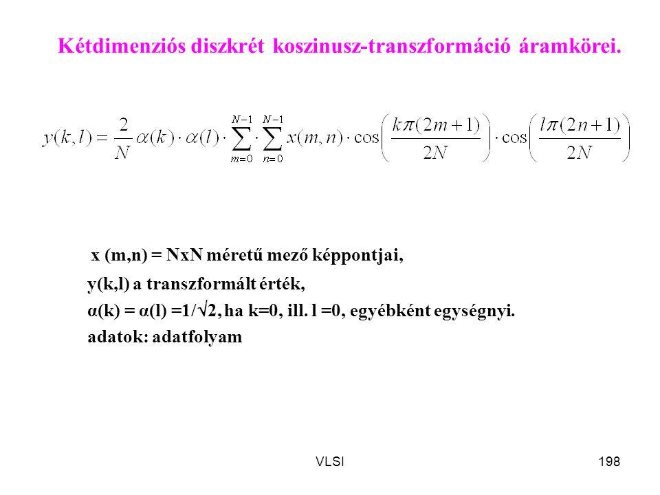 VLSI198 x (m,n) = NxN méretű mező képpontjai, y(k,l) a transzformált érték, α(k) = α(l) =1/  2, ha k=0, ill. l =0, egyébként egységnyi. adatok: adatf