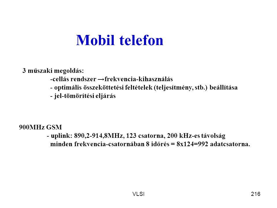 VLSI216 Mobil telefon 900MHz GSM - uplink: 890,2-914,8MHz, 123 csatorna, 200 kHz-es távolság minden frekvencia-csatornában 8 időrés = 8x124=992 adatcs