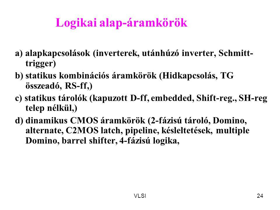 VLSI24 Logikai alap-áramkörök a) alapkapcsolások (inverterek, utánhúzó inverter, Schmitt- trigger) b) statikus kombinációs áramkörök (Hidkapcsolás, TG