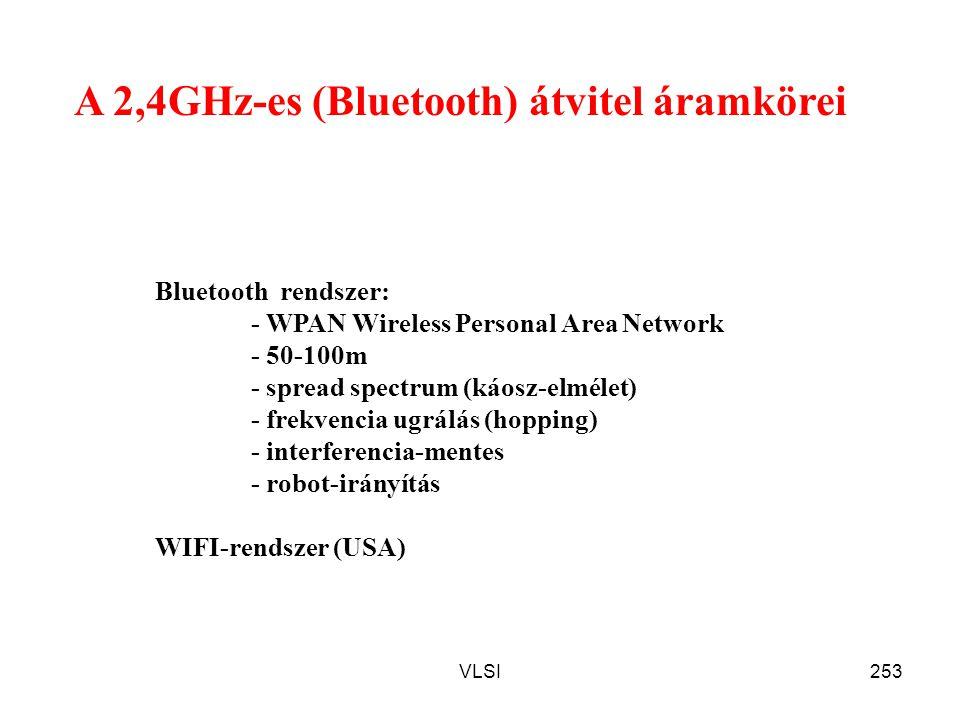 VLSI253 A 2,4GHz-es (Bluetooth) átvitel áramkörei Bluetooth rendszer: - WPAN Wireless Personal Area Network - 50-100m - spread spectrum (káosz-elmélet