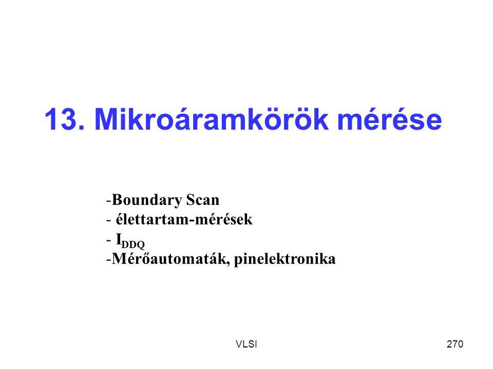 VLSI270 13. Mikroáramkörök mérése -Boundary Scan - élettartam-mérések - I DDQ -Mérőautomaták, pinelektronika