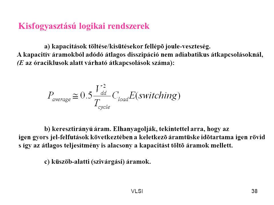 VLSI38 Kisfogyasztású logikai rendszerek a) kapacitások töltése/kisütésekor fellépõ joule-veszteség. A kapacitív áramokból adódó átlagos disszipáció n