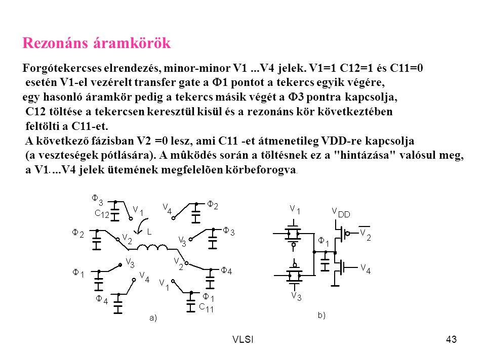 VLSI43 Rezonáns áramkörök Forgótekercses elrendezés, minor-minor V1...V4 jelek. V1=1 C12=1 és C11=0 esetén V1-el vezérelt transfer gate a  1 pontot a