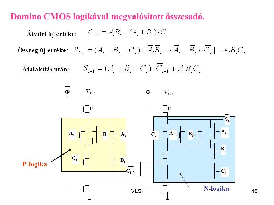 VLSI48 CiCi CiCi BiBi SiSi C i+1  V CC p BiBi CiCi p BiBi AiAi BiBi Domino CMOS logikával megvalósított összesadó. Átvitel új értéke: Összeg új érték
