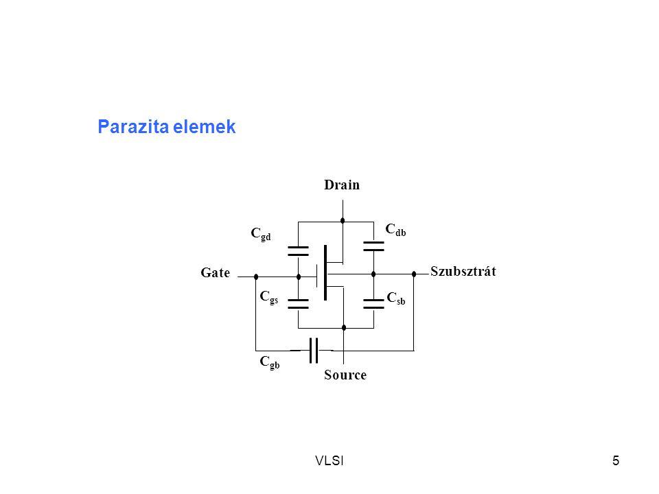 VLSI5 Drain Gate Szubsztrát Source C db C gb C sb C gs C gd Parazita elemek