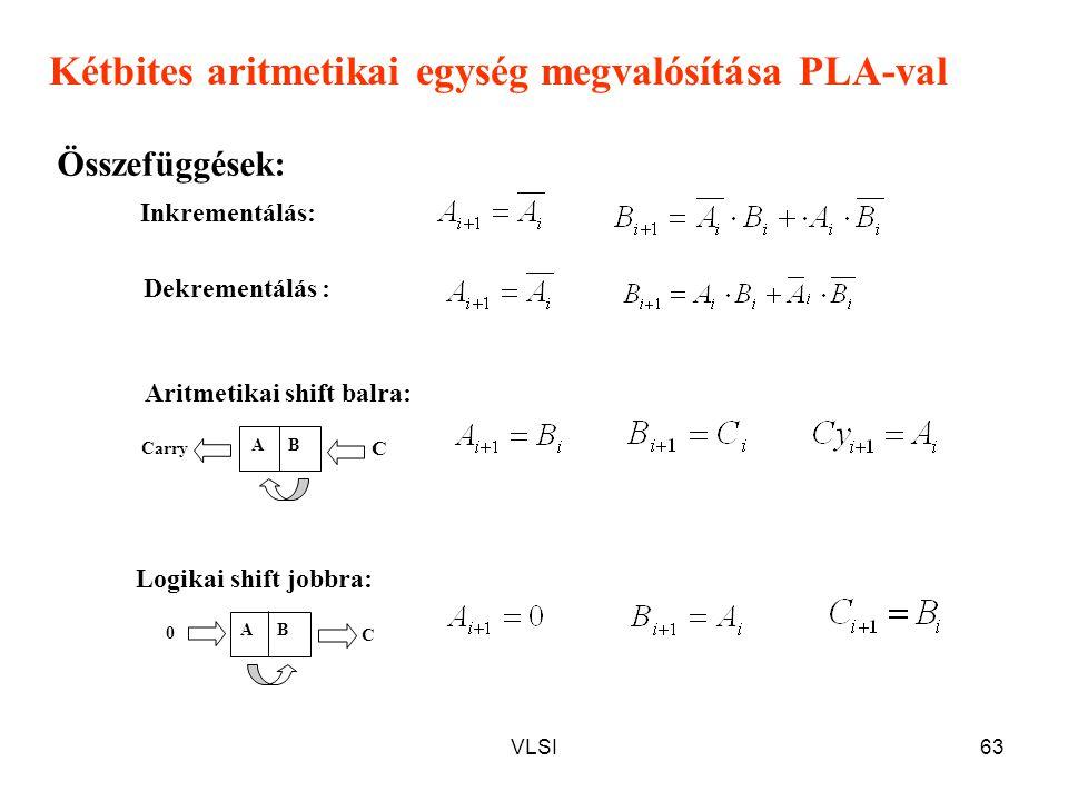 VLSI63 Inkrementálás: Dekrementálás : Logikai shift jobbra: Aritmetikai shift balra: Kétbites aritmetikai egység megvalósítása PLA-val Összefüggések: