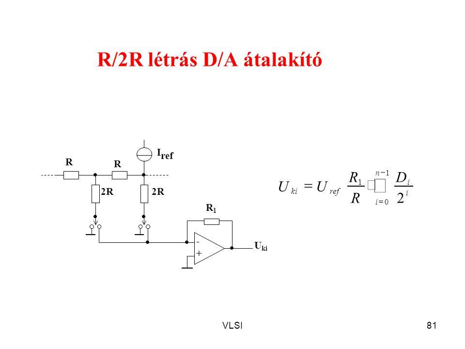 VLSI81 R/2R létrás D/A átalakító R R1R1 - + U ki 2R R I ref     1 0 1 2 n i i i refki D R R UU