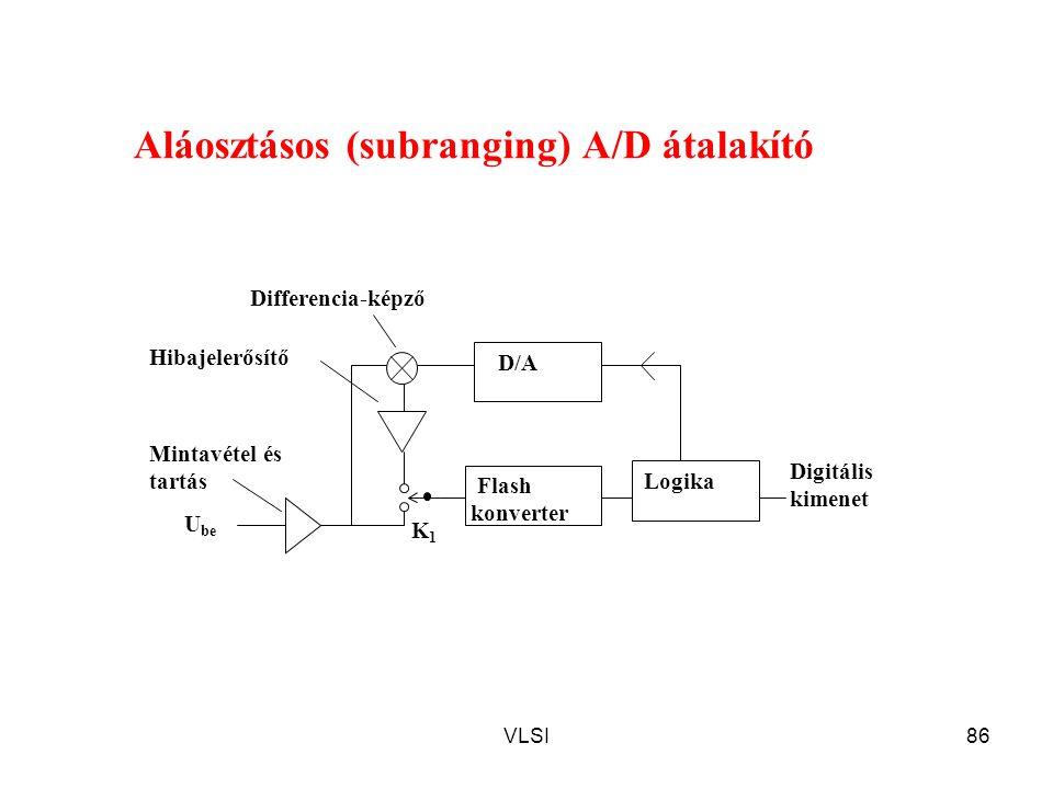 VLSI86 Aláosztásos (subranging) A/D átalakító K1K1 Mintavétel és tartás D/A U be Flash konverter Logika Hibajelerősítő Differencia-képző Digitális kim