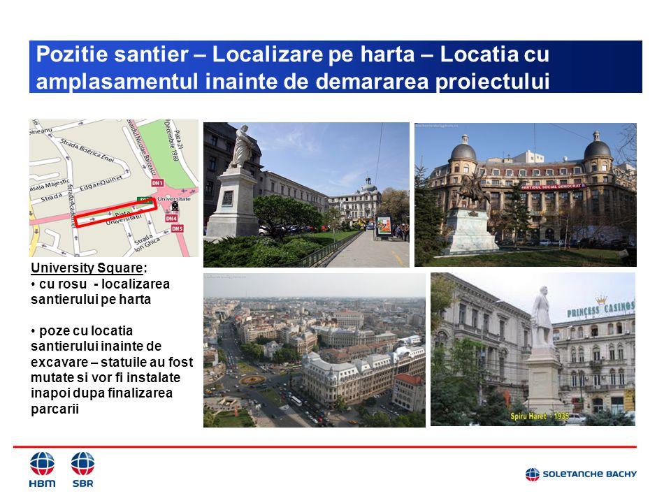 Pozitie santier – Localizare pe harta – Locatia cu amplasamentul inainte de demararea proiectului University Square: cu rosu - localizarea santierului
