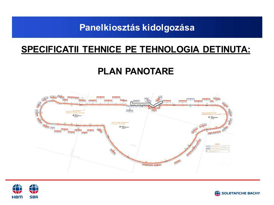 Panelkiosztás kidolgozása SPECIFICATII TEHNICE PE TEHNOLOGIA DETINUTA: PLAN PANOTARE
