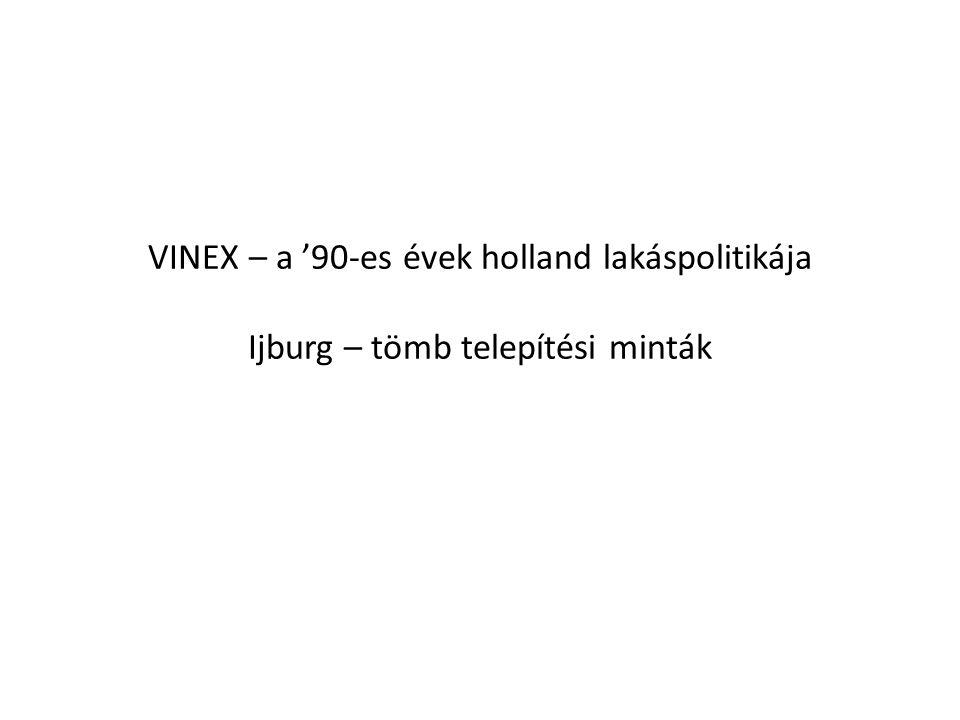 VINEX – a '90-es évek holland lakáspolitikája Ijburg – tömb telepítési minták