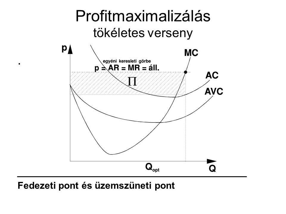 Profitmaximalizálás tökéletes verseny. Fedezeti pont és üzemszüneti pont