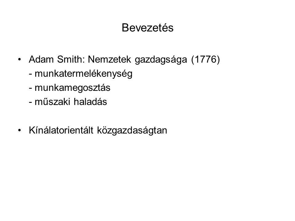 Bevezetés Adam Smith: Nemzetek gazdagsága (1776) - munkatermelékenység - munkamegosztás - műszaki haladás Kínálatorientált közgazdaságtan