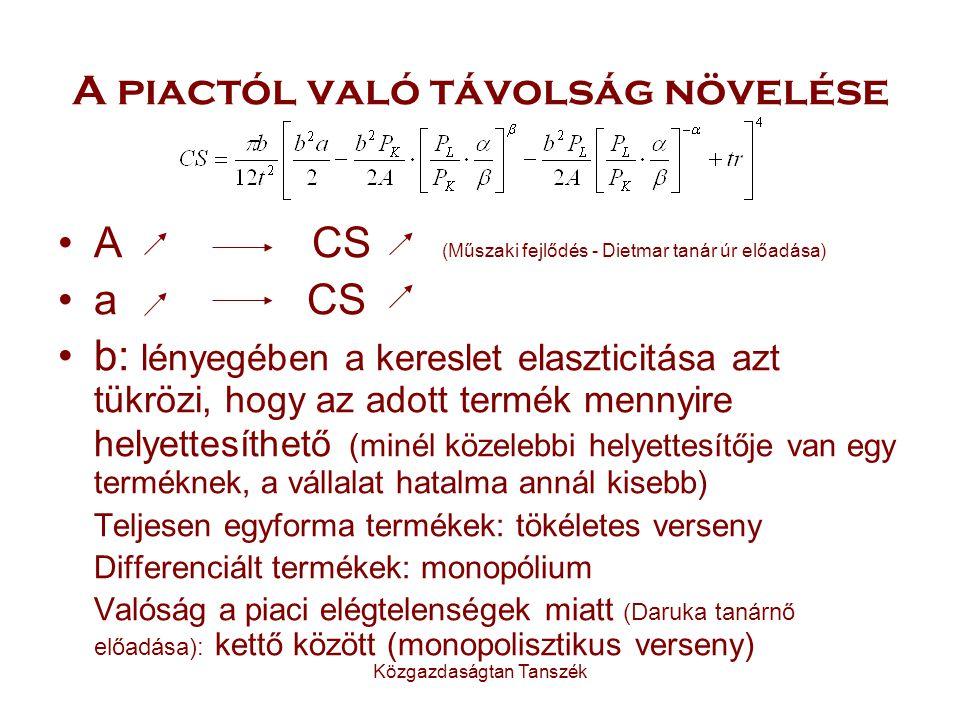 Közgazdaságtan Tanszék A piactól való távolság növelése A CS (Műszaki fejlődés - Dietmar tanár úr előadása) a CS b: lényegében a kereslet elaszticitása azt tükrözi, hogy az adott termék mennyire helyettesíthető (minél közelebbi helyettesítője van egy terméknek, a vállalat hatalma annál kisebb) Teljesen egyforma termékek: tökéletes verseny Differenciált termékek: monopólium Valóság a piaci elégtelenségek miatt (Daruka tanárnő előadása): kettő között (monopolisztikus verseny)