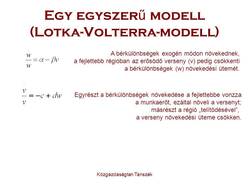 Közgazdaságtan Tanszék Egy egyszer ű modell (Lotka-Volterra-modell) A bérkülönbségek exogén módon növekednek, a fejlettebb régióban az erősödő verseny (v) pedig csökkenti a bérkülönbségek (w) növekedési ütemét.