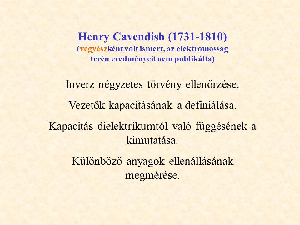 Henry Cavendish (1731-1810) (vegyészként volt ismert, az elektromosság terén eredményeit nem publikálta) Inverz négyzetes törvény ellenőrzése.