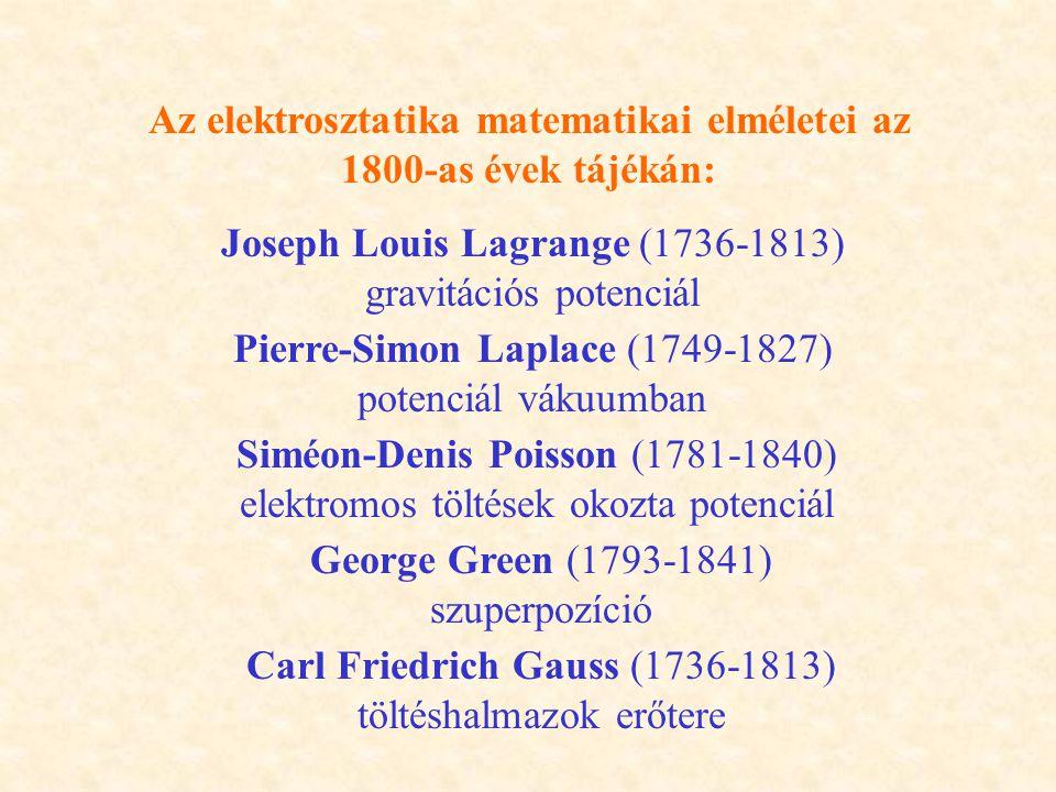 Az elektrosztatika matematikai elméletei az 1800-as évek tájékán: Joseph Louis Lagrange (1736-1813) gravitációs potenciál Pierre-Simon Laplace (1749-1827) potenciál vákuumban Siméon-Denis Poisson (1781-1840) elektromos töltések okozta potenciál George Green (1793-1841) szuperpozíció Carl Friedrich Gauss (1736-1813) töltéshalmazok erőtere