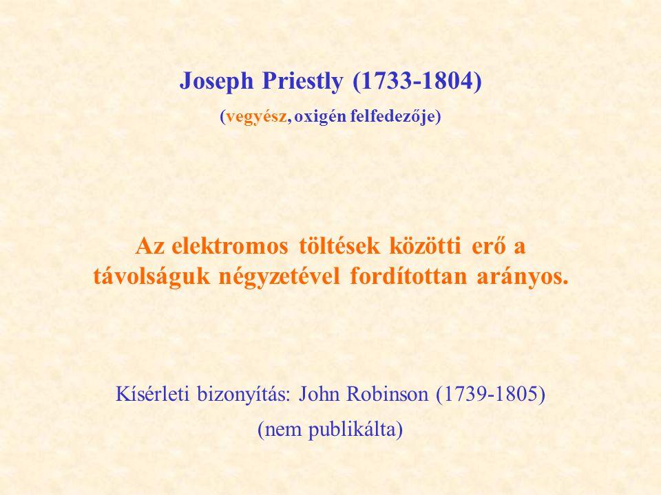 Joseph Priestly (1733-1804) (vegyész, oxigén felfedezője) Az elektromos töltések közötti erő a távolságuk négyzetével fordítottan arányos.