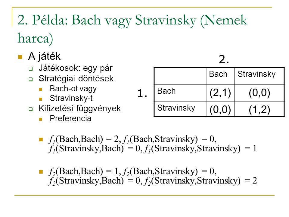 2. Példa: Bach vagy Stravinsky (Nemek harca) A játék  Játékosok: egy pár  Stratégiai döntések Bach-ot vagy Stravinsky-t  Kifizetési függvények Pref