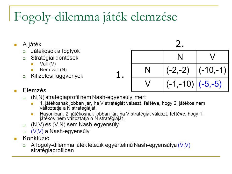 Fogoly-dilemma játék elemzése A játék  Játékosok a foglyok  Stratégiai döntések Vall (V) Nem vall (N)  Kifizetési függvények Elemzés  (N,N) straté