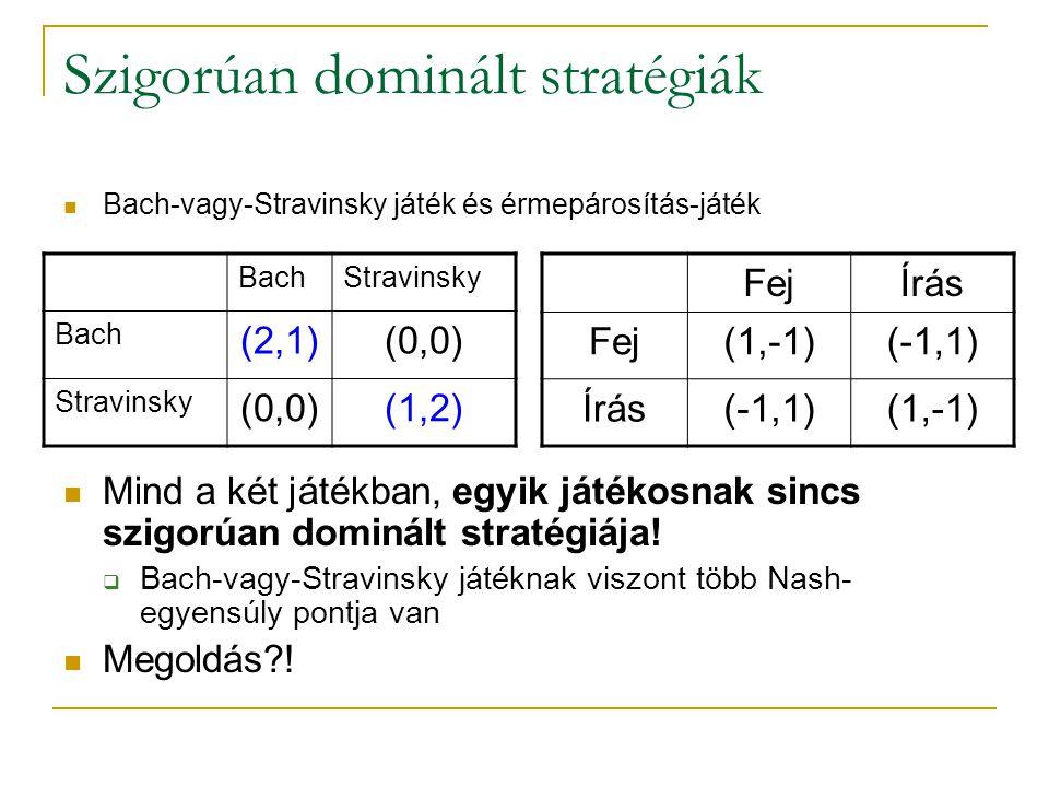 Szigorúan dominált stratégiák Bach-vagy-Stravinsky játék és érmepárosítás-játék Mind a két játékban, egyik játékosnak sincs szigorúan dominált stratég