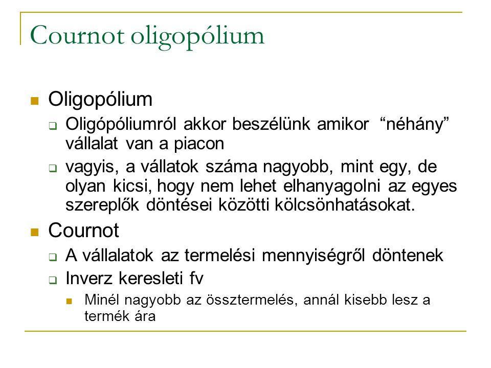 """Cournot oligopólium Oligopólium  Oligópóliumról akkor beszélünk amikor """"néhány"""" vállalat van a piacon  vagyis, a vállatok száma nagyobb, mint egy, d"""