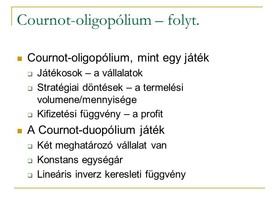Cournot-oligopólium – folyt. Cournot-oligopólium, mint egy játék  Játékosok – a vállalatok  Stratégiai döntések – a termelési volumene/mennyisége 