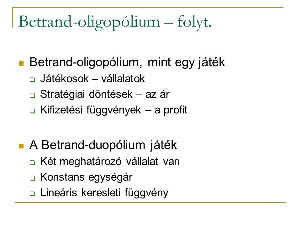 Betrand-oligopólium – folyt. Betrand-oligopólium, mint egy játék  Játékosok – vállalatok  Stratégiai döntések – az ár  Kifizetési függvények – a pr