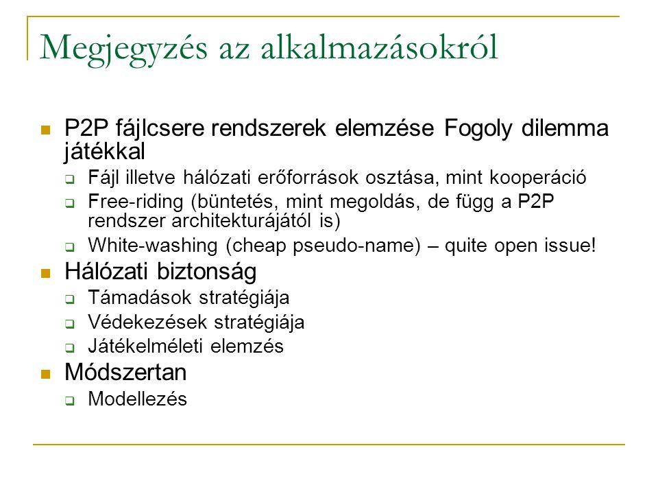 Megjegyzés az alkalmazásokról P2P fájlcsere rendszerek elemzése Fogoly dilemma játékkal  Fájl illetve hálózati erőforrások osztása, mint kooperáció 