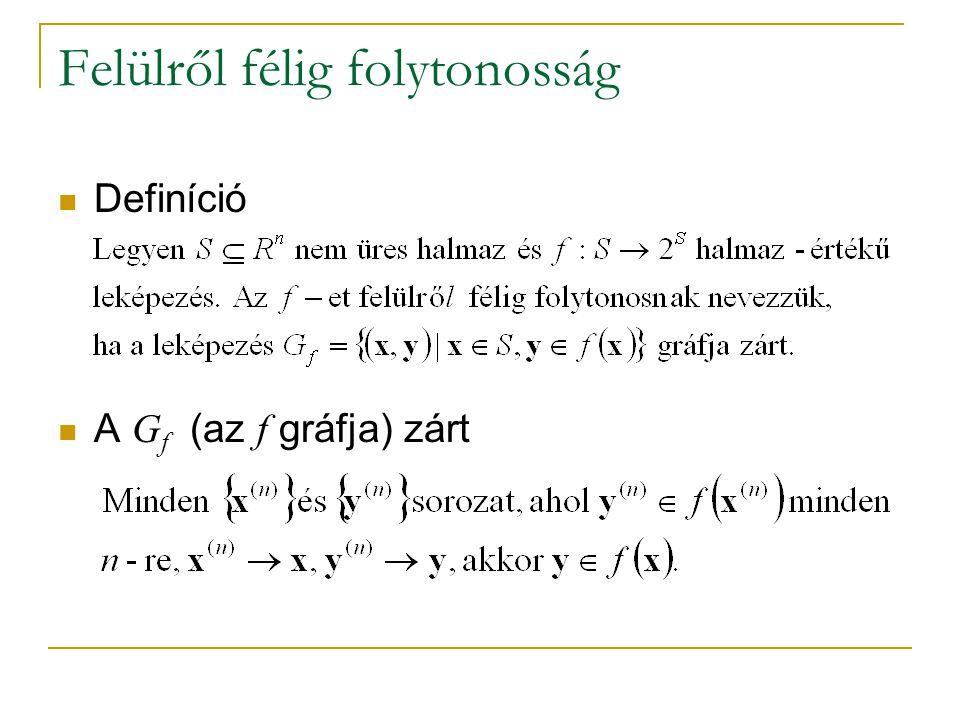 Felülről félig folytonosság Definíció A G f (az f gráfja) zárt