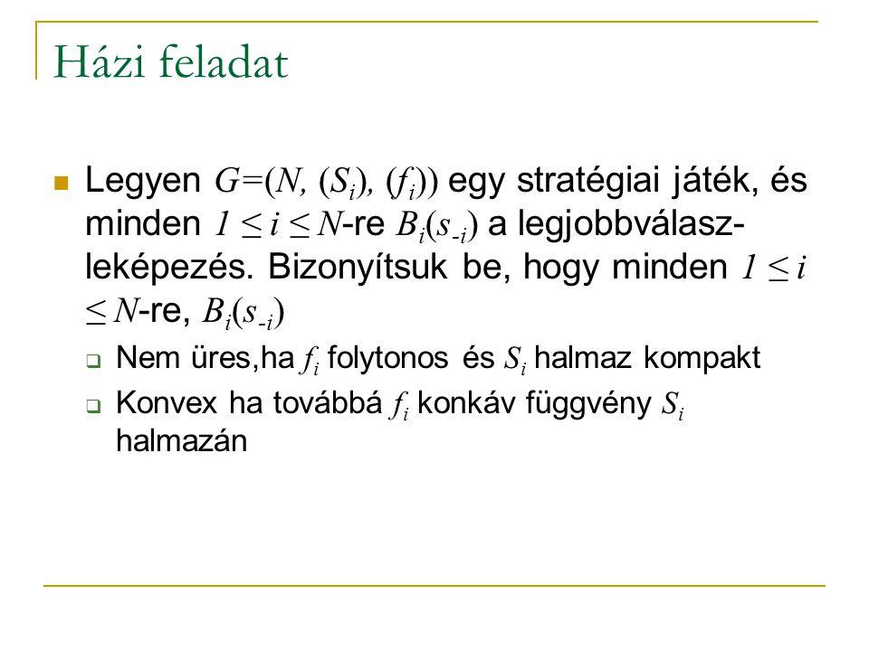 Házi feladat Legyen G=(N, (S i ), (f i )) egy stratégiai játék, és minden 1 ≤ i ≤ N -re B i (s -i ) a legjobbválasz- leképezés. Bizonyítsuk be, hogy m