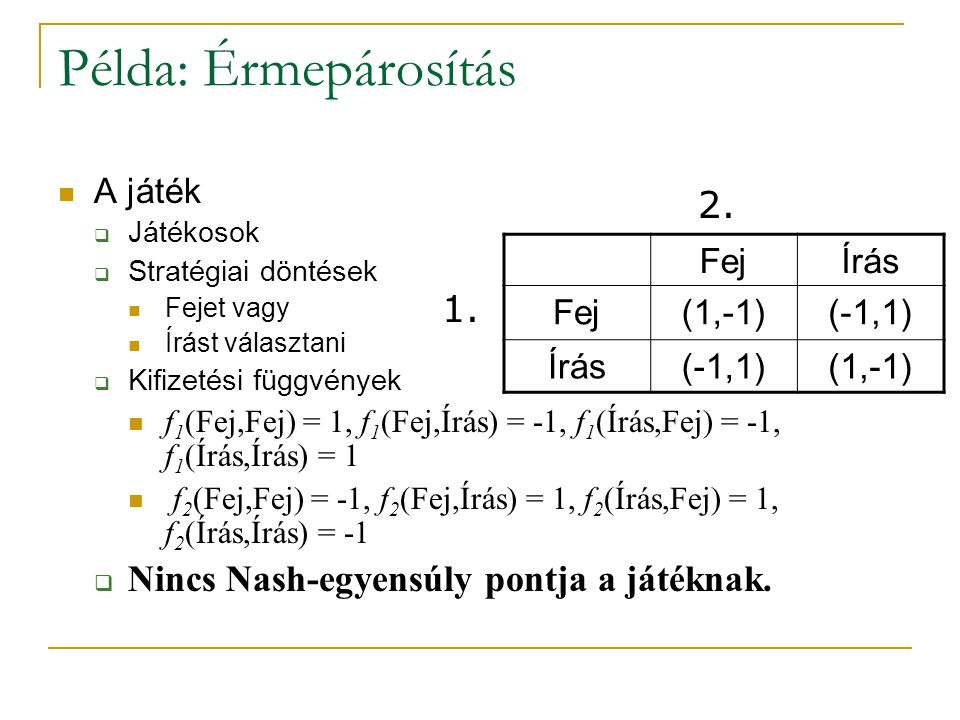 Példa: Érmepárosítás A játék  Játékosok  Stratégiai döntések Fejet vagy Írást választani  Kifizetési függvények f 1 (Fej,Fej) = 1, f 1 (Fej,Írás) =