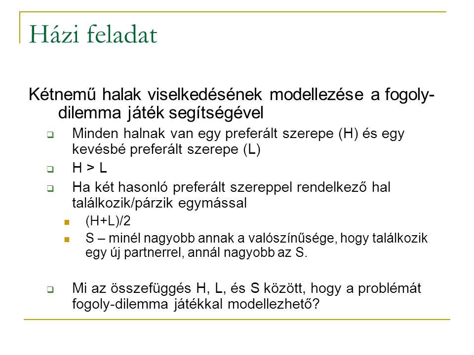 Házi feladat Kétnemű halak viselkedésének modellezése a fogoly- dilemma játék segítségével  Minden halnak van egy preferált szerepe (H) és egy kevésb
