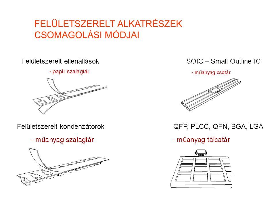 FELÜLETSZERELT ALKATRÉSZEK CSOMAGOLÁSI MÓDJAI Felületszerelt ellenállások QFP, PLCC, QFN, BGA, LGA SOIC – Small Outline IC Felületszerelt kondenzátoro