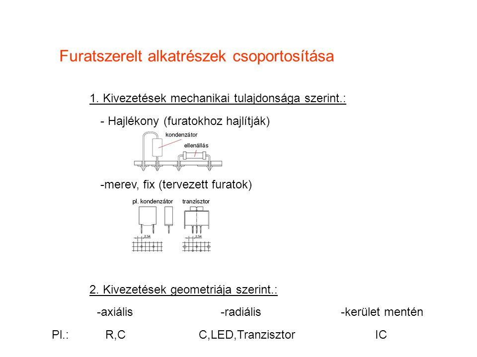 Furatszerelt alkatrészek csoportosítása 1. Kivezetések mechanikai tulajdonsága szerint.: - Hajlékony (furatokhoz hajlítják) 2. Kivezetések geometriája