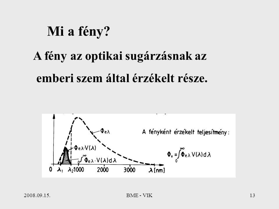 2008.09.15.BME - VIK13 Mi a fény? A fény az optikai sugárzásnak az emberi szem által érzékelt része.