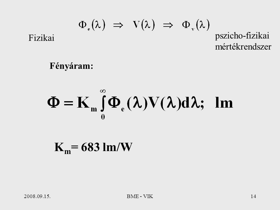 2008.09.15.BME - VIK14 Fényáram: pszicho-fizikai mértékrendszer K m = 683 lm/W Fizikai