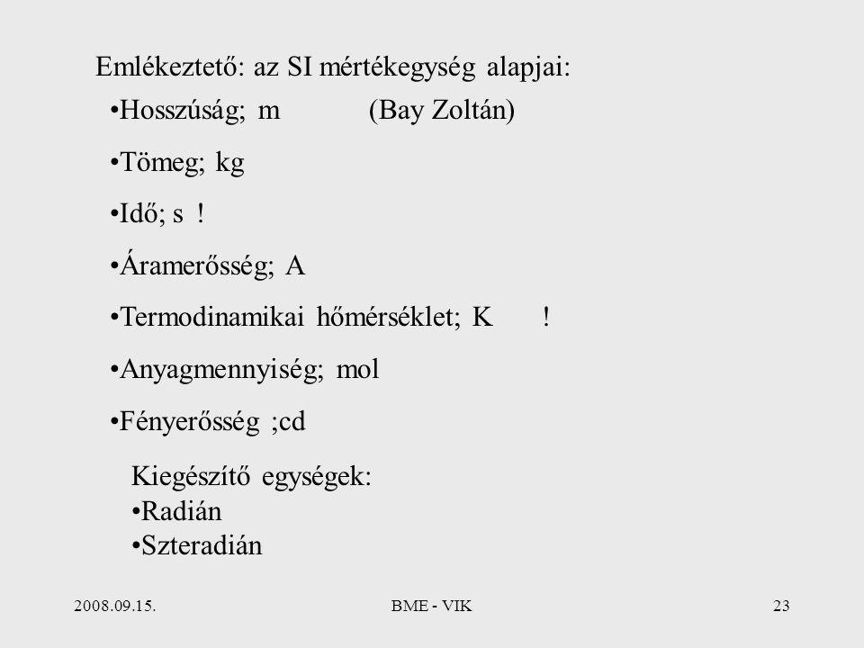 2008.09.15.BME - VIK23 Emlékeztető: az SI mértékegység alapjai: Hosszúság; m(Bay Zoltán) Tömeg; kg Idő; s! Áramerősség; A Termodinamikai hőmérséklet;
