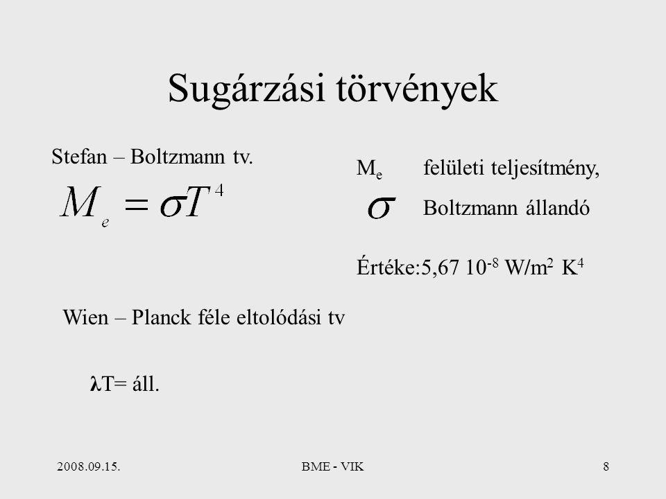 2008.09.15.BME - VIK8 Sugárzási törvények Stefan – Boltzmann tv. M e felületi teljesítmény, Boltzmann állandó Értéke:5,67 10 -8 W/m 2 K 4 Wien – Planc
