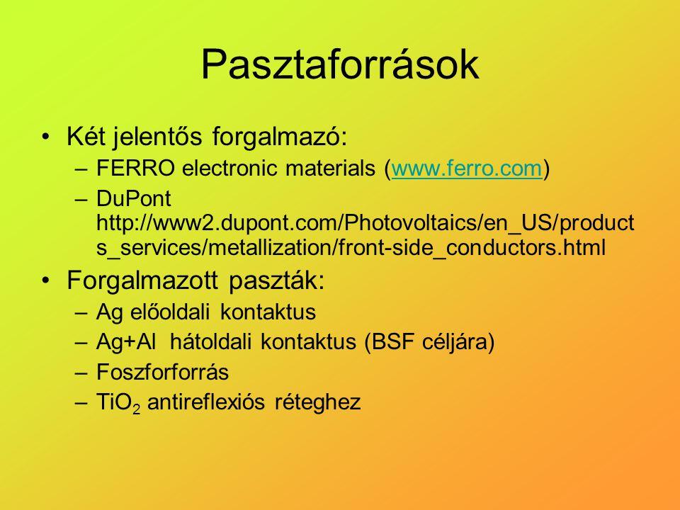 Pasztaforrások Két jelentős forgalmazó: –FERRO electronic materials (www.ferro.com)www.ferro.com –DuPont http://www2.dupont.com/Photovoltaics/en_US/pr