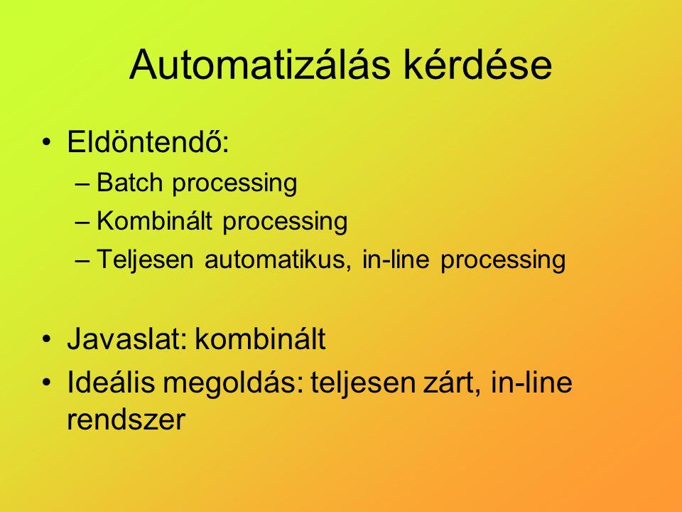 Automatizálás kérdése Eldöntendő: –Batch processing –Kombinált processing –Teljesen automatikus, in-line processing Javaslat: kombinált Ideális megoldás: teljesen zárt, in-line rendszer