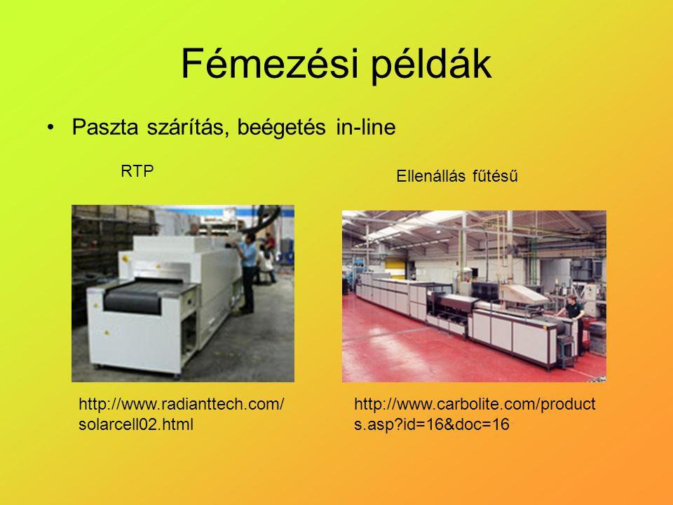 Fémezési példák Paszta szárítás, beégetés in-line http://www.radianttech.com/ solarcell02.html RTP http://www.carbolite.com/product s.asp id=16&doc=16 Ellenállás fűtésű