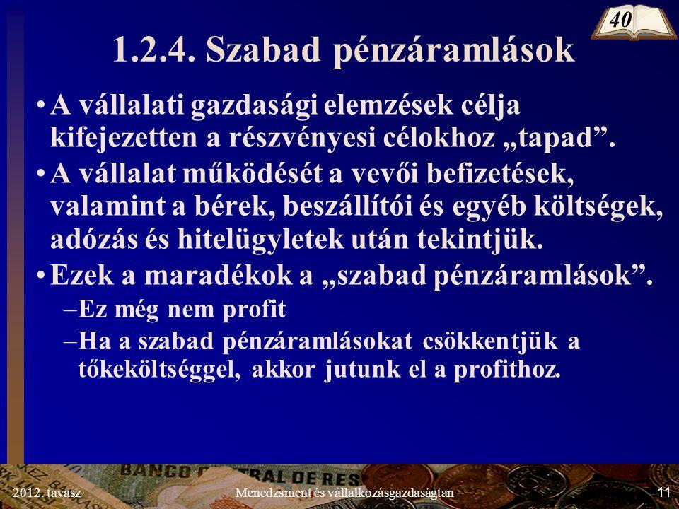 2012. tavasz11Menedzsment és vállalkozásgazdaságtan 1.2.4. Szabad pénzáramlások A vállalati gazdasági elemzések célja kifejezetten a részvényesi célok