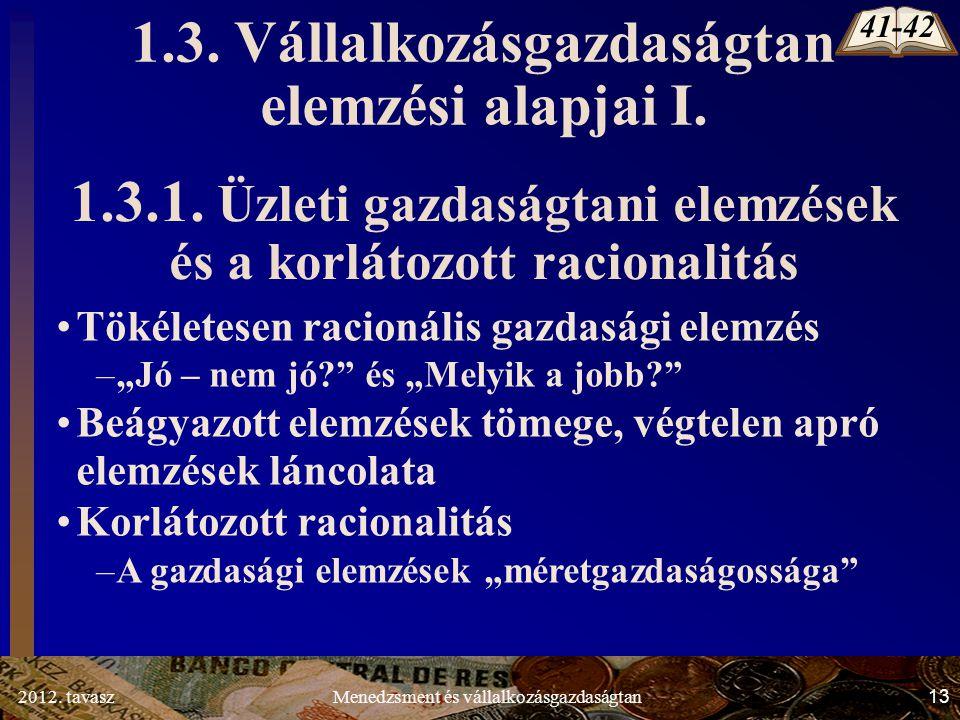 2012. tavasz13Menedzsment és vállalkozásgazdaságtan 1.3.