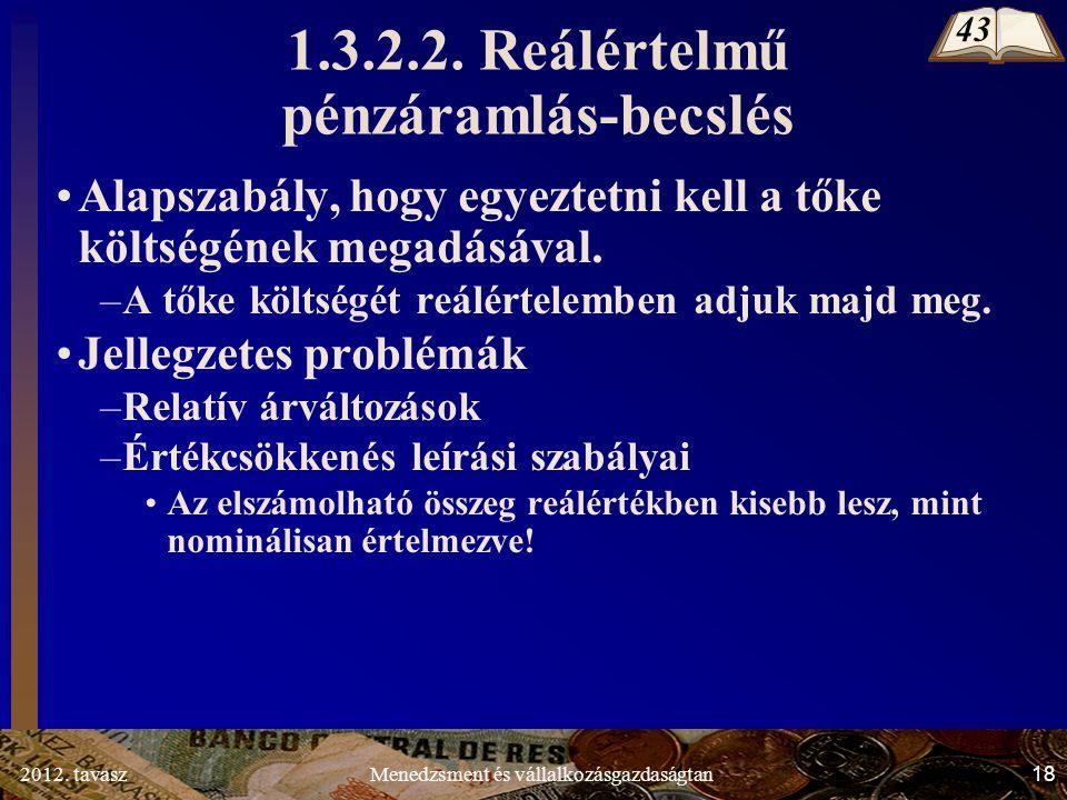 2012. tavasz18Menedzsment és vállalkozásgazdaságtan 1.3.2.2.
