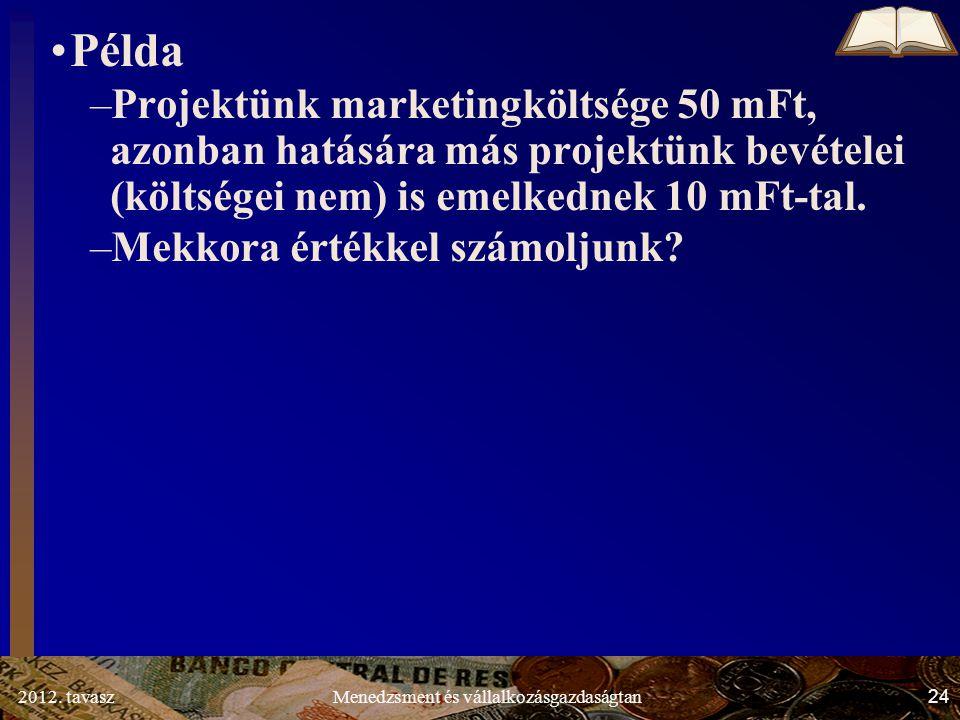 2012. tavasz24Menedzsment és vállalkozásgazdaságtan Példa –Projektünk marketingköltsége 50 mFt, azonban hatására más projektünk bevételei (költségei n