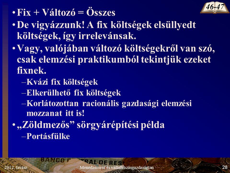 2012. tavasz28Menedzsment és vállalkozásgazdaságtan Fix + Változó = Összes De vigyázzunk.
