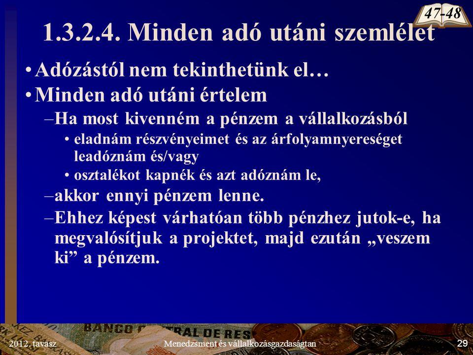 2012. tavasz29Menedzsment és vállalkozásgazdaságtan 1.3.2.4.