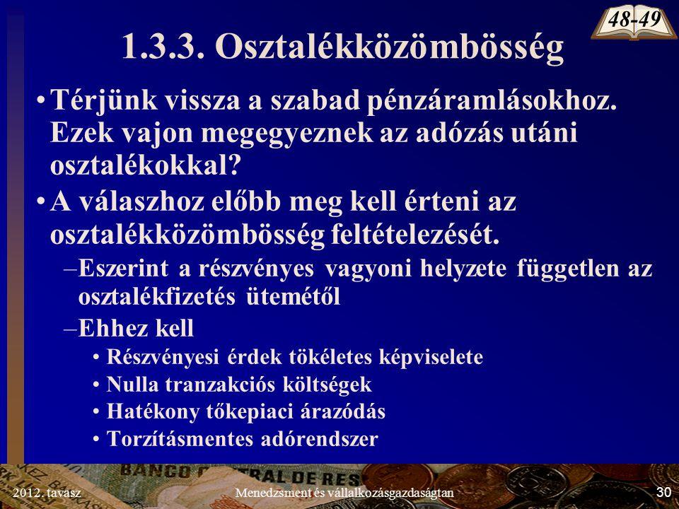 2012. tavasz30Menedzsment és vállalkozásgazdaságtan 1.3.3.